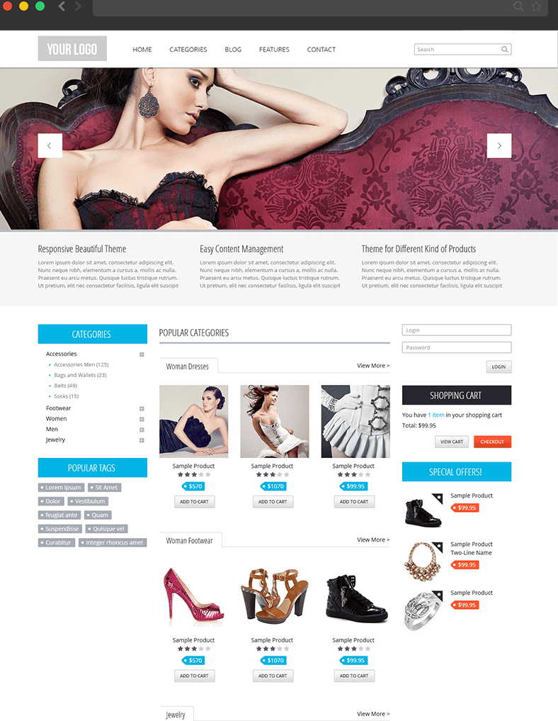 Free Drupal 7 eCommerce Themes- Commerce Theme