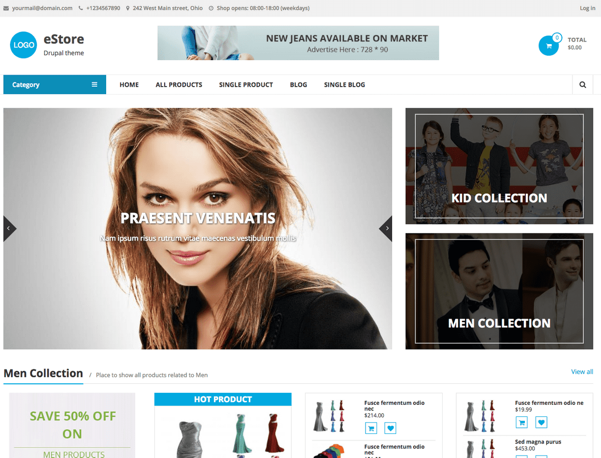 Free Drupal 8 Themes for eCommerce: eStore