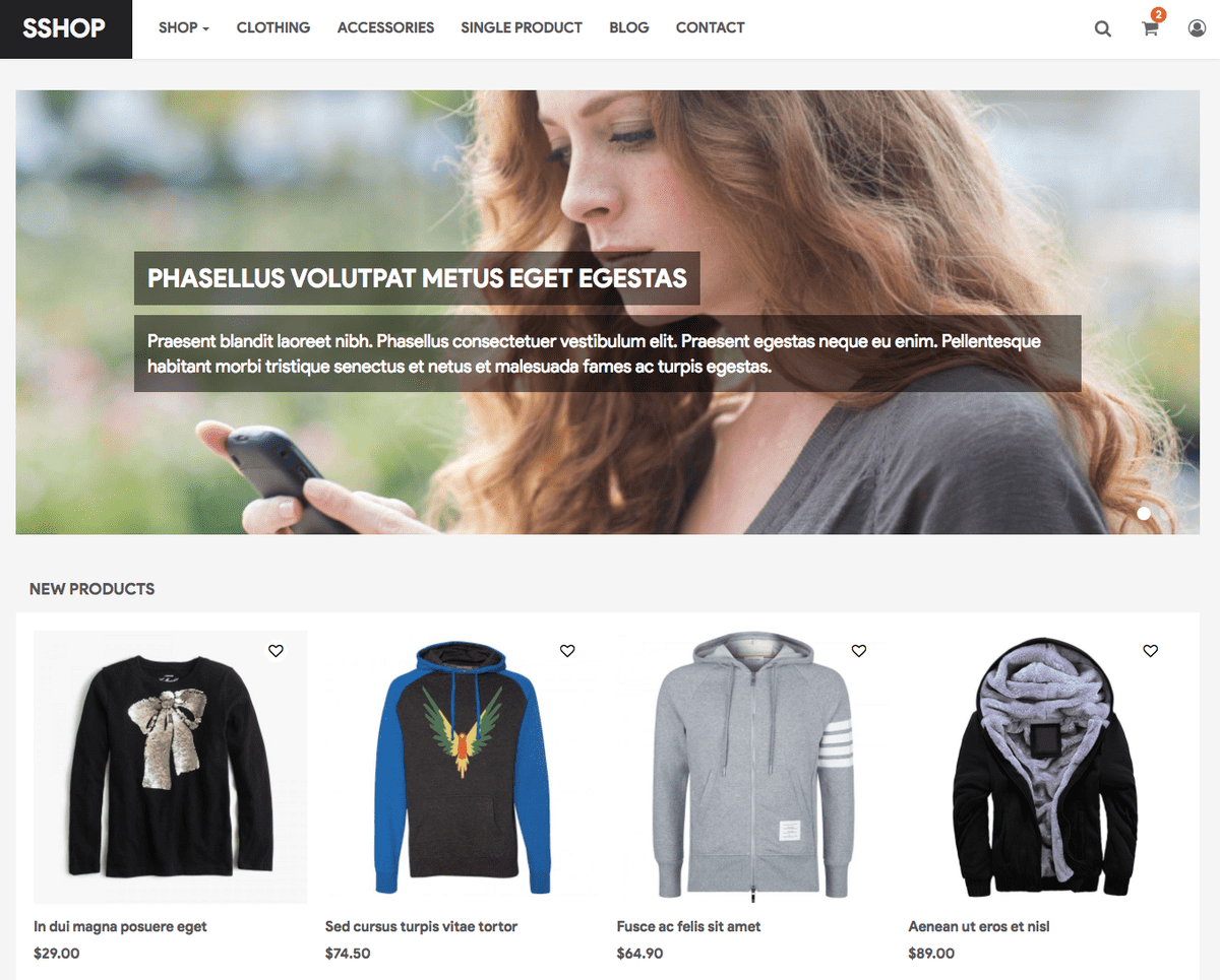 Free Drupal 8 Themes for eCommerce: SShop