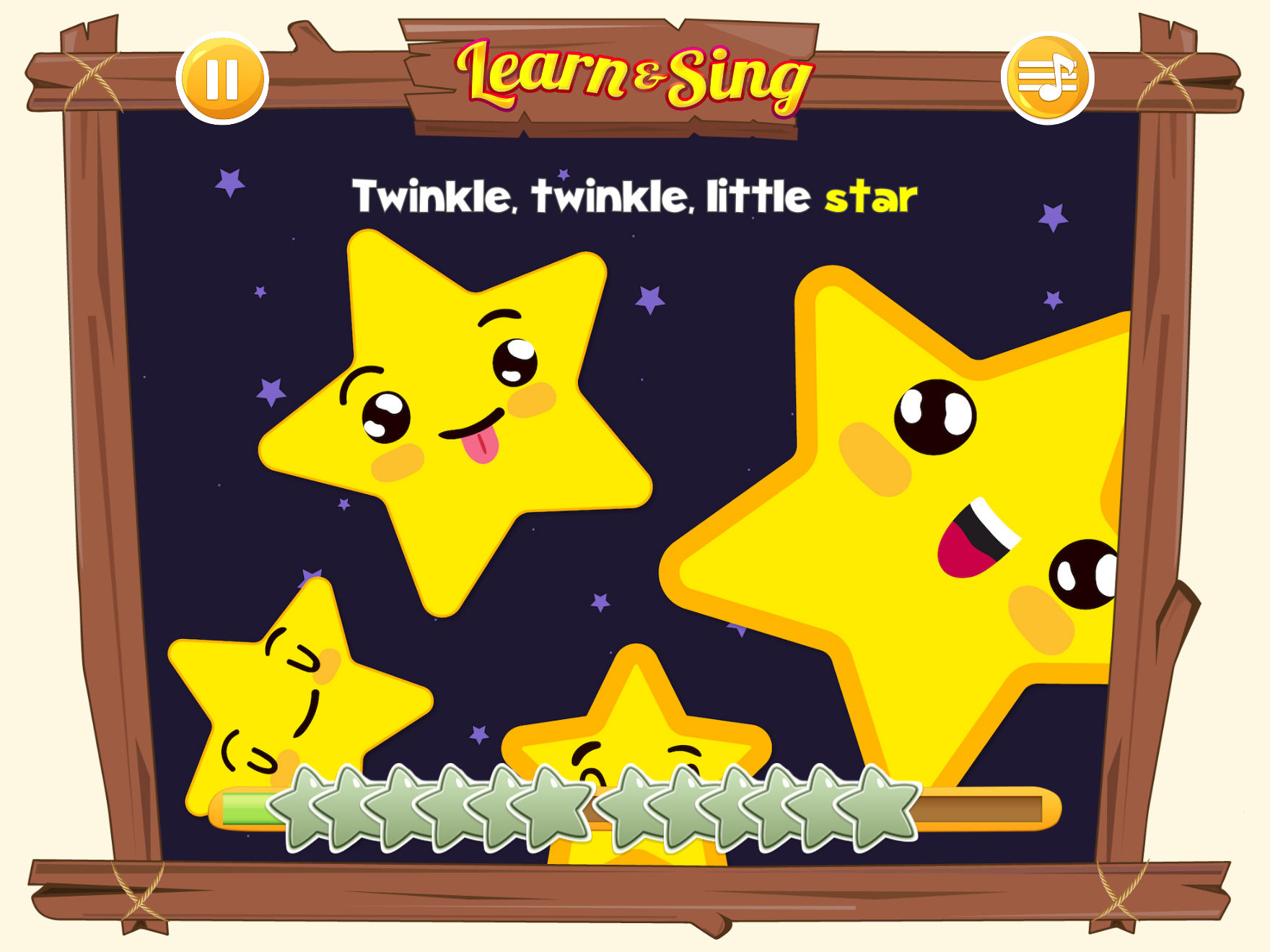 Karaoke game for toddlers